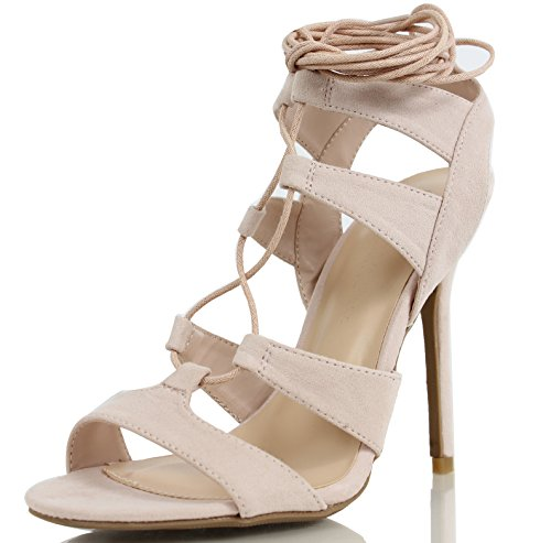 Heel Strappy Ankle Wrap Platform (Wild Diva Women's Adele 236 Gladiator Lace Up Open Toe Strappy Ankle Wrap High Heel Pump, Nude, 8 M US)