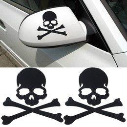 32 & Willys Pair of Skull and Crossbones Side View Mirror Premium Decal 4 inch [Black] | Funny | Pirate Jolly Roger | JDM | Jeep | car Truck Van Laptop MacBook Bumper Sticker