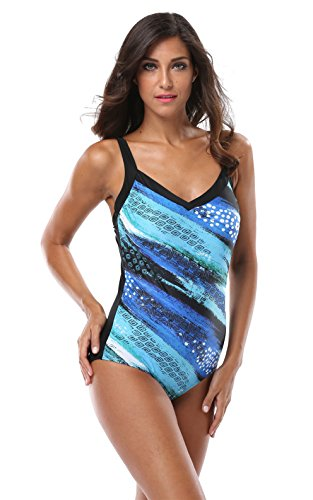 Alove Women's Vitnage Slim Fit Push Up One Piece Swimsuit Swimwear Blue 8