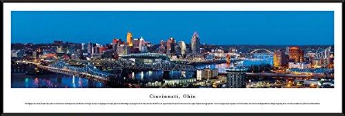 Cincinnati, Ohio at Twilight - Blakeway Panoramas Skyline Posters with Standard (Cincinnati Ohio Usa Framed)