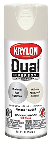 Krylon K08802001 'Dual' Superbond  Paint and Primer, Gloss Almond, 12 Ounce