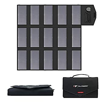 Image of Solar Battery Chargers & Charging Kits ALLPOWERS 100W Solar Charger (Dual 5v USB with iSolar Technology+18v DC Output) Portable Solar Panel for Laptop, Tablet, ipad, iPhone, Samsung, Notebooks, 12v Car, Boat, RV Battery, Camping, Hiking