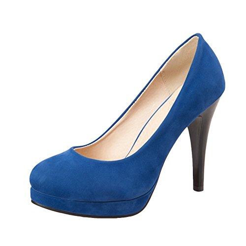 Mee Shoes Damen Nubukleder Plateau Trichterabsatz Pumps Blau