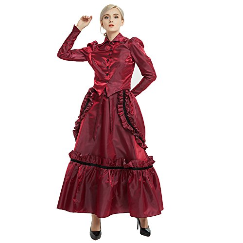 GRACEART Steampunk Edwardian Dress Gown Jacket and Skirt Suits with Bustle Wine Red-08