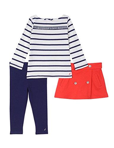 Nautica Baby Girls' Three Piece Shirt, Skirt and Legging Set, Cream, 12 Months