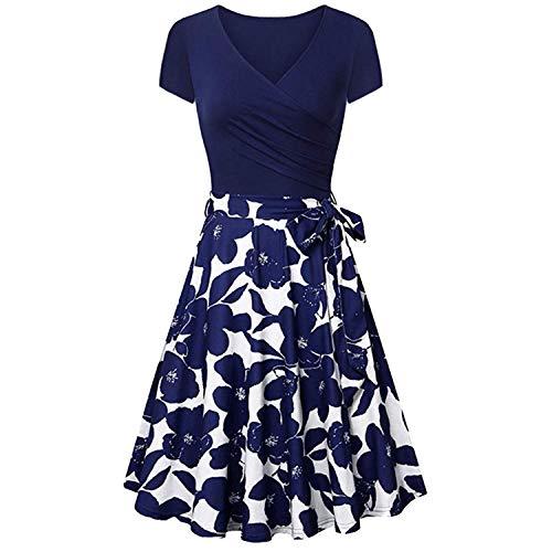 Women's Short Sleeve Cross V- Neck Dresses Vintage Elegant Flared A-Line Slim Fit Body Dress,Blue,S