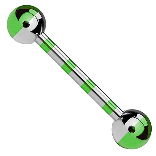 BodyJ4You Straight Barbell Blue Green Steel Two-Tone 14G BR 16mm Nipple Tongue Body Piercing Jewelry ()