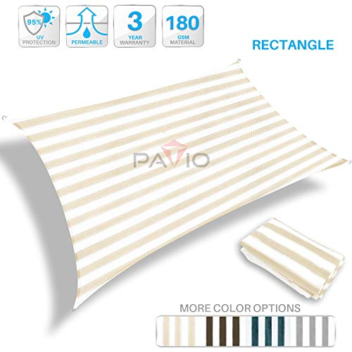 Patio Paradise 16 x 20 Beige White Stripes Sun Shade Sail Rectangle Canopy, 180 GSM Permeable Canopy Pergolas Top Cover, Permeable UV Block Fabric Durable Outdoor, Customized Available