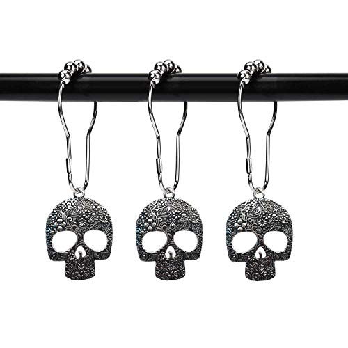 ZILucky Set of 12 Sugar Skull Shower Curtain Hooks Decorative Home Bathroom Stainless Steel Rustproof Skeletons Shower Curtain Rings Decor Accessories (Silver)]()