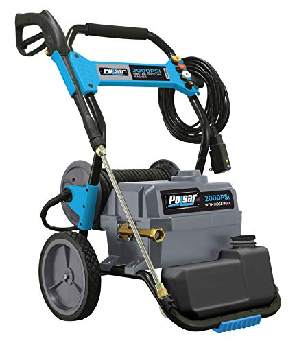 Pulsar Products PWE2019 2,000 PSI, 1.6 GPM Hose Reel & Built-in Soap Tank Electric Pressure Washer, Black & Blue