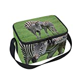 Insulated Lunch Bag Zebra Mom Baby Child Nature Prairie Lunchbox Thermal Handbag Food