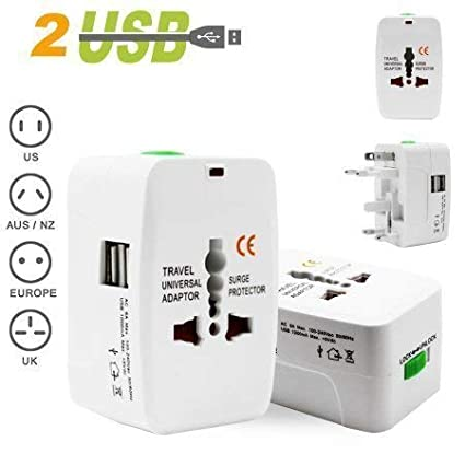TECH SHOP Universal Adapter Worldwide Travel Adapter with Built in Dual USB Charger Ports (White) Power Supplies (Computers & Accessories) at amazon