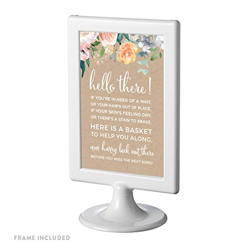 (Andaz Press Peach Kraft Brown Rustic Floral Garden Party Wedding Collection, Framed Party Signs, Bathroom Basket Sign, 4x6-inch, 1-Pack, Includes)