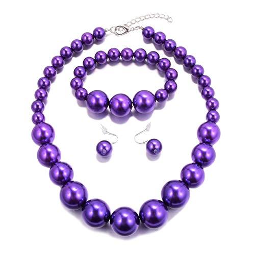 (MJULY Women Big Faux Pearl Necklace Bracelet and Earrings Set Large Pearl Jewelry)