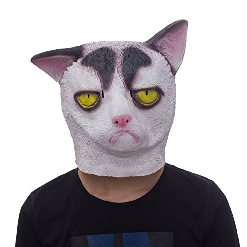 Molezu Grumpy Cat Mask, Cat Halloween Mask, Novelty Costume Party Latex Cat Head (Grumpy Cat Halloween Mask)