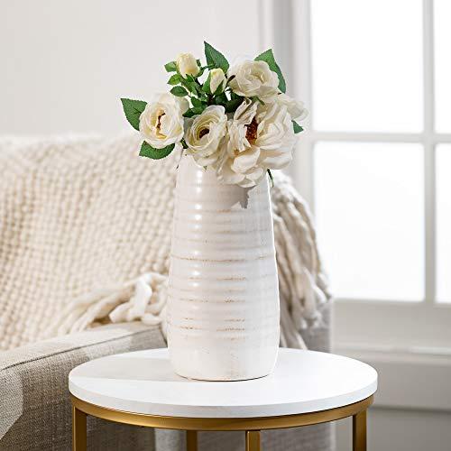 Distressed white ceramic vase