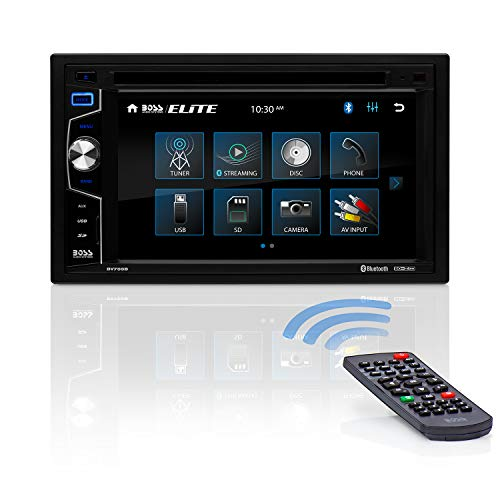 BOSS Audio Elite BV755B Car DVD Player – Double Din, Bluetooth Audio and Calling, 6.2 Inch LCD Touchscreen, MP3 Player, CD/DVD, USB/SD, Auxiliary Input, AM/FM Radio Receiver