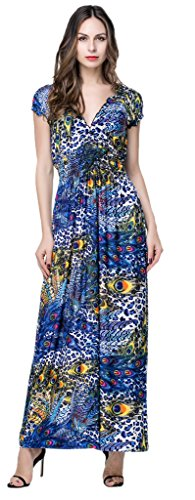 BlingZoe Dress Beach neck Maxi Boho Plus Dress Women's V Peacock Sundress Size ravUrq1