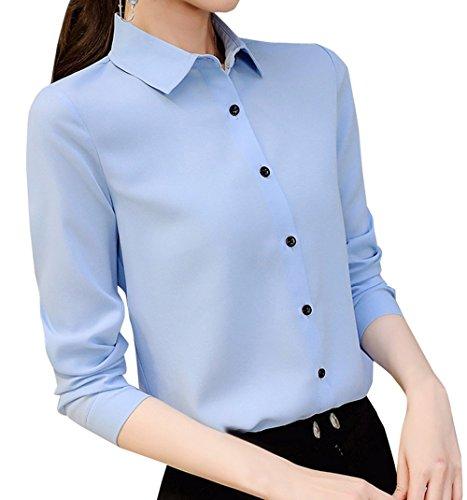 Tee Donne Shirts Manica Cime Sottile Nuovo e Bluse Camicie Azzurro Casual Primavera Maglietta a Tops Lunga Risvolto Autunno Maglie FOFrvw
