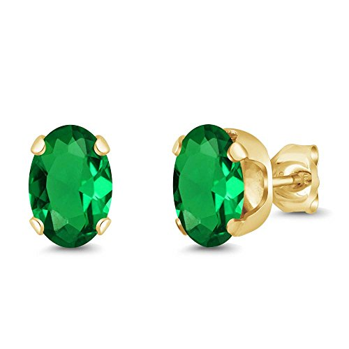 - Gem Stone King 1.20 Ct Oval 7x5mm Green Nano Emerald 18K Yellow Gold Stud Earrings