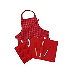 Kids Real Baking Set with Personalized Red & White Polka Dot Apron by Dikor