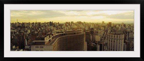 GreatBIGCanvas ''High angle view of a city, Copan Building, Hotel Hilton, Rua Consolacao, Sao Paulo, Brazil'' Photographic Print with Black Frame, 48'' x 16''