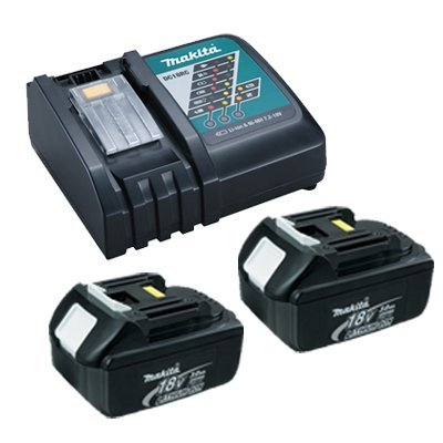 Makita DC18RC Lithium-Ion Battery Charger with (2) BL1830 LXT 18V 3 Ah Batteries with 1 Plastic Cover by Makita