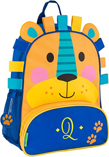 (Monogrammed Me Sidekick Backpack, Blue Lion, with Embroidered Sweetheart Initial Q)