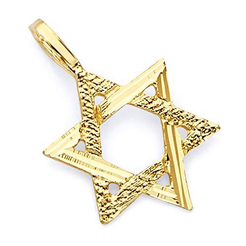 (14k Yellow Gold Star of David Pendant)