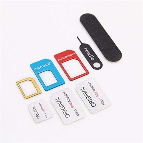 (Lention 5-in-1 Nano Micro Sim Card Adapter Kit Converter With Sander Bar And Tray Open Needle)