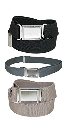 CTM Kids Elastic Adjustable Belt with Magnetic Buckle (Pack of 3 Colors)