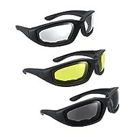 Gafas de montar para motocicletas de 3 pares, humo, amarillo claro
