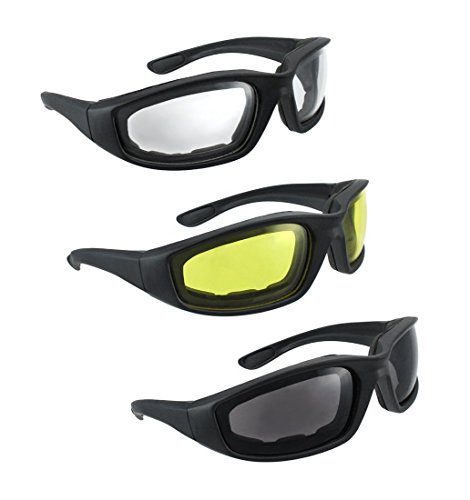Safety Glasses Motorcycle Sunglasses - 3 Pair Motorcycle Riding Glasses Smoke Clear Yellow