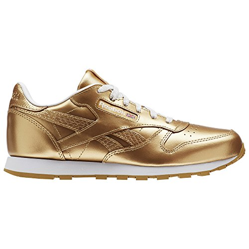 Leather de Metallic Running Rbk Dorado Brass Classic Reebok Zapatillas Mujer White para AIw5qZ1n