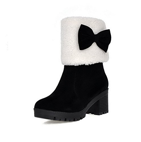 Allhqfashion Women's Frosted Round Closed Toe Solid Low-top Kitten-Heels Boots Black AbXPL