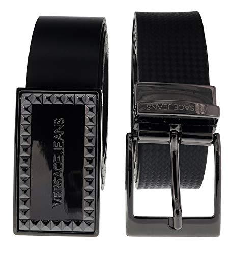 Versace ED8YSBF17 EMI8 Black Adjustable-2 Buckle Leather Belt for ()
