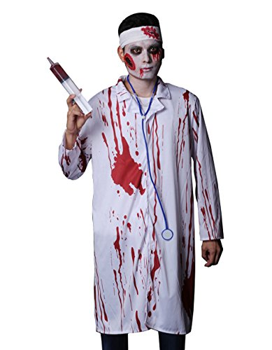 Sexy Ghost Costume - Halloween Bloody Doctor Costume Scary Dead Ghost Bride Uniform (One Size, Men) ()