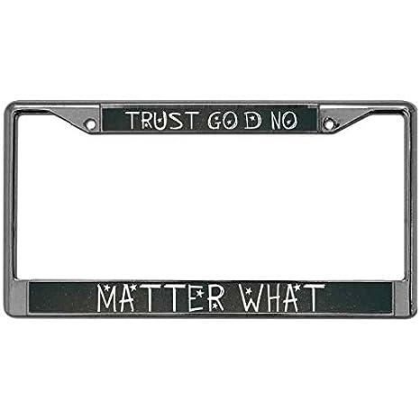 Faith In God I Trust Chrome Metal License Plate Frame Tag Holder