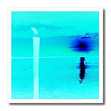 Florene - Beach And Sunset Art - Print of Aqua And Blue Sunset With Bird - 6x6 Iron on Heat Transfer for White Material (ht_205038_2)