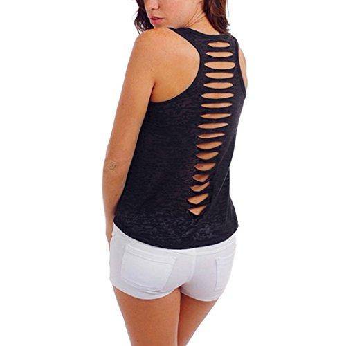 Teamyy Camiseta sin Manga Tanque Chaleco Mujer Casual Sólido Slim Hueco Agujeros en Espalda negro