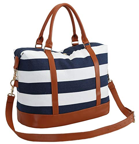 BLUBOON Women Weekender Bag Overnight Travel Carry-on Tote Duffle Bag for Rolling Luggage with Shoulder Strap 287 Blue Stripe