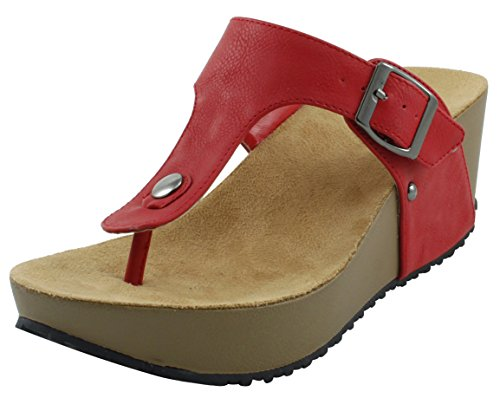 (Cambridge Select Women's Studded T-Strap Buckle Thong Platform Wedge Sandal (9 B(M) US, Red))