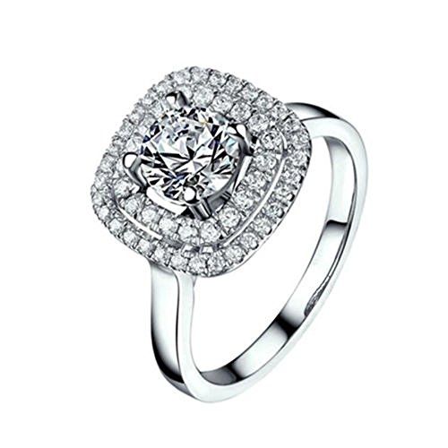 (A.Minnymin Cubic Zirconia AAA Silver Plated Full Rhinestone Love Ring Size 7 8 9 (8))