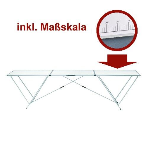 Alu Tapeziertisch Arbeitstisch Mehrzwecktisch 3 Meter mit MDF-Arbeitsplatte und Stahlrohrgestell
