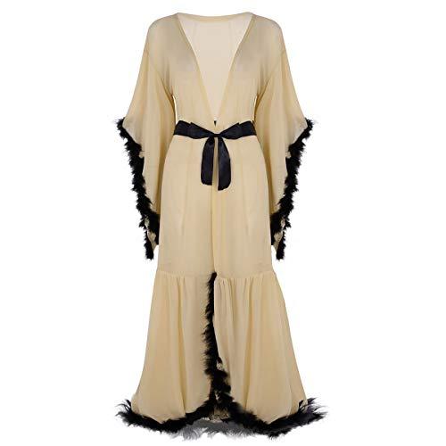 (iiniim Sexy Illusion Long Lingerie for Women Robe Nightgown Bathrobe Sleepwear Feather Bridal Glamor Robe Khaki One Size)