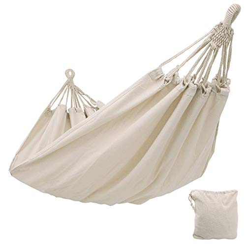 - SONGMICS Cotton Hammock Swing Bed for Patio, Porch, Garden or Backyard Lounging - Heavy-Duty, Lightweight and Portable - Indoor Outdoor - Natural White UGDC15M