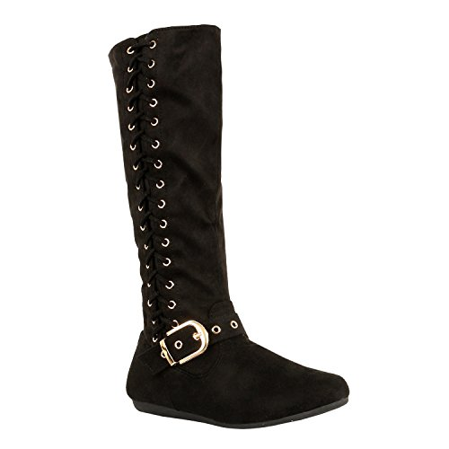 Guilty Shoes Western Side Lace Up Winter Warm Comfortable Boot Boots, 25 Black Suede, 7.5 (B) M US (Casual Shoes Winter)
