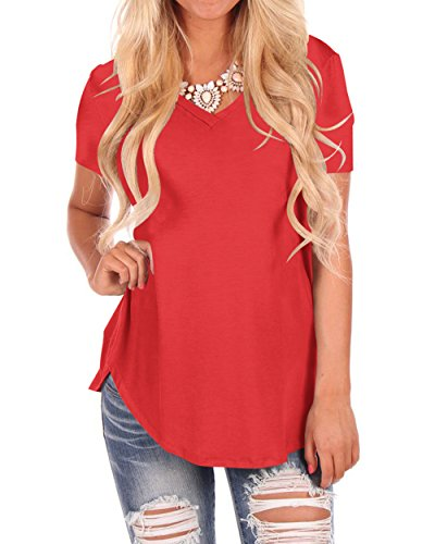 Women Casual Fashion Short Sleeve Hem Tee Shirt Sold Color Red S