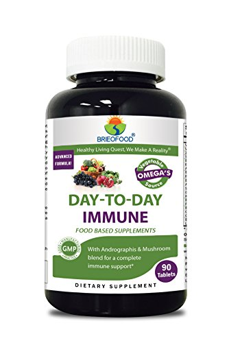 Brieofood Immune 90 Tablets, Food Based daily Immune system booster supplement made with Vegetable Source Omegas, probiotics and herbal blends