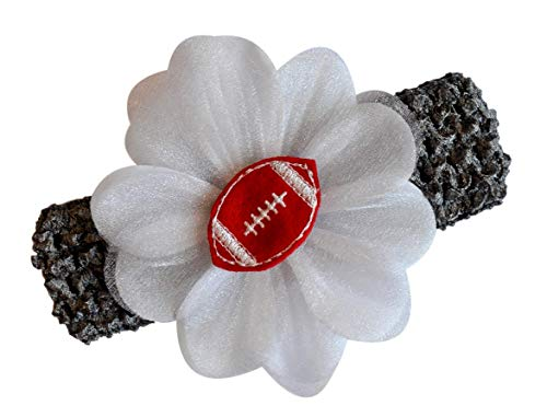 Baby Embroidered Felt Football Team Flower Headband Fits Newborns to Toddlers (Silver Gray Band/Red Ball) (Baby Headband Felt)